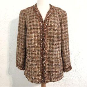Lafayette 148 tweed embellished jacket size 14